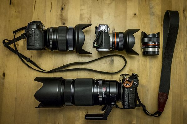 Concert setup: X-T1 with 16-55mm, X-T10 with 12mm (or 8mm fisheye) and X-Pro2 with 50-140mm