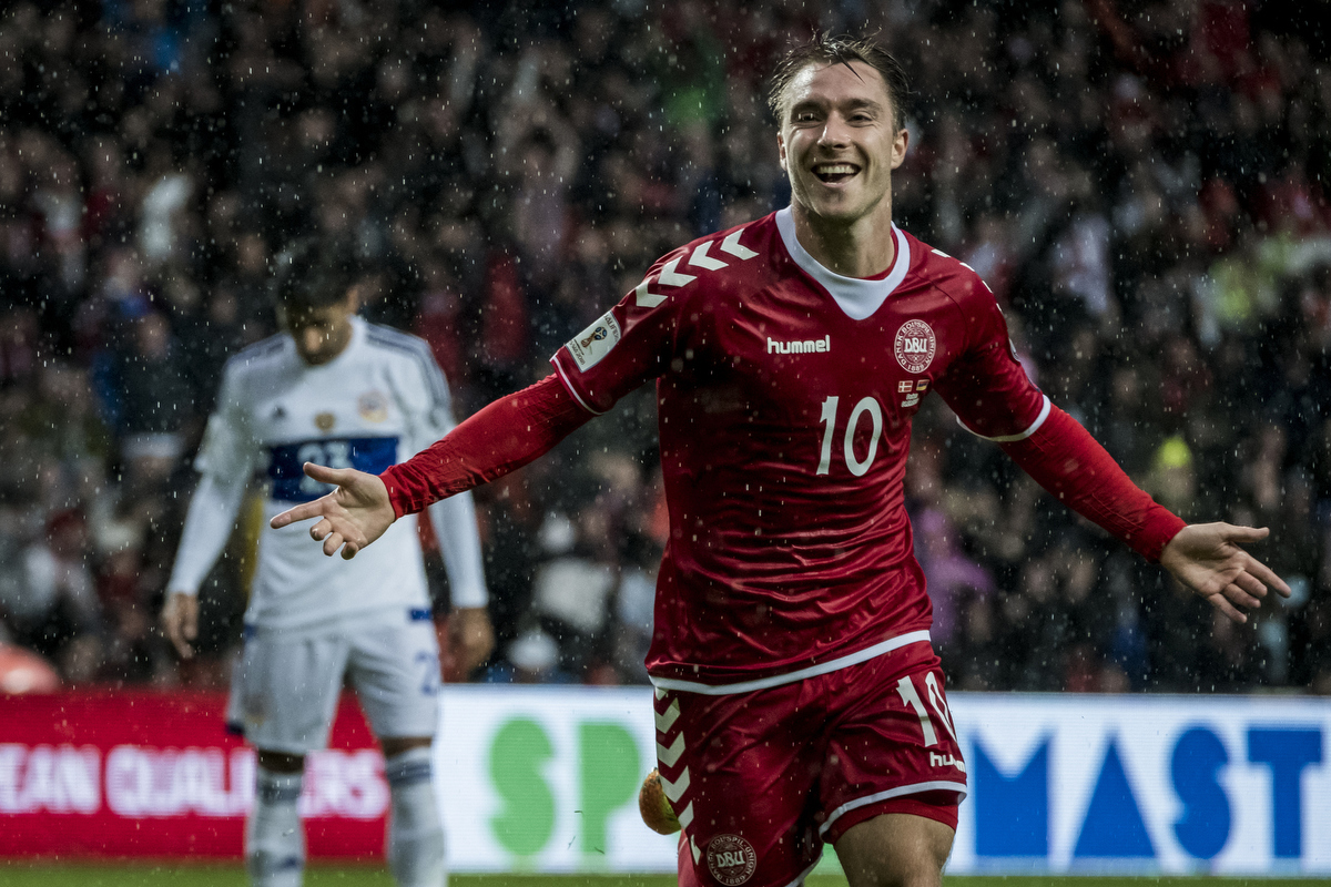 Denmark vs Armenia (World Cup qualification match) Christian Eriksen cheering after scoring a goal. Luckily, he ran towards me.  X-Pro2 – 100-400 @ 243 mm – ISO 5000 – f/5.6 – 1/1000 sec