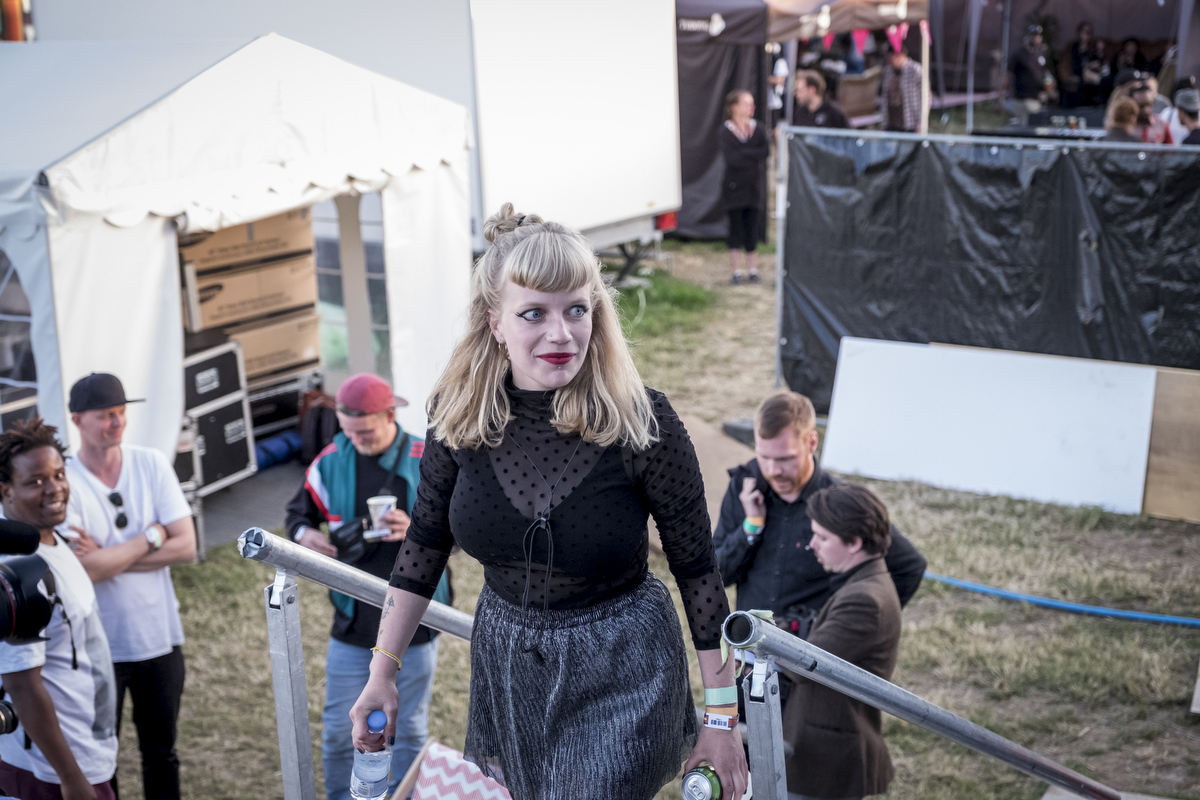 Danish indie singer Katinka on her way to the stage.