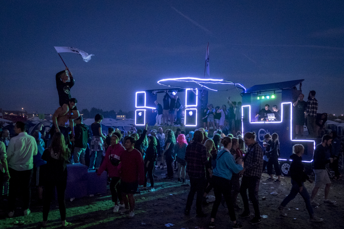 The DIY boom boxes get bigger every year. Here's one used for throwing a party in Dream City.