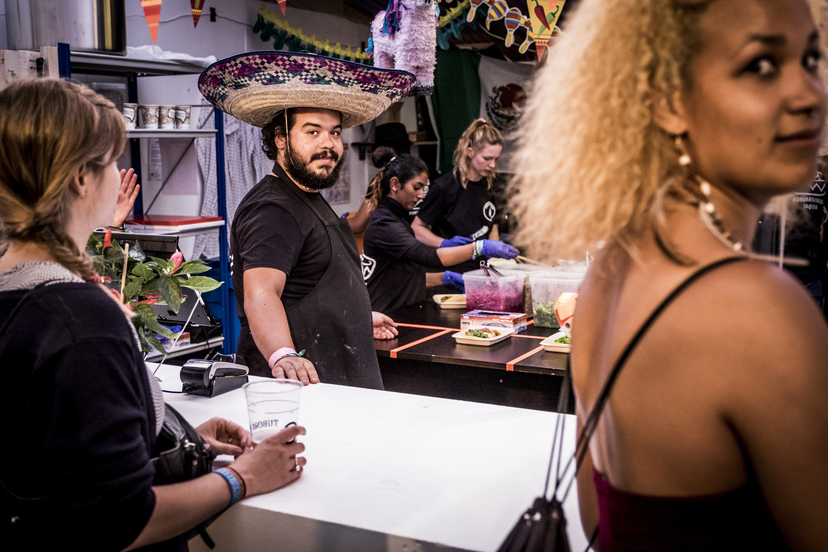 With more than 80 food stalls you can get all kinds of food at Roskilde Festival. Here it's the taco stall run by the good people of the local concert venue Forbrændingen.