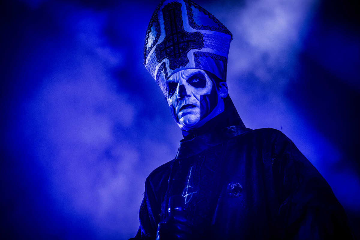 Eerie looking lead singer Papa Emeritus III of the occult Swedish metal band Ghost.