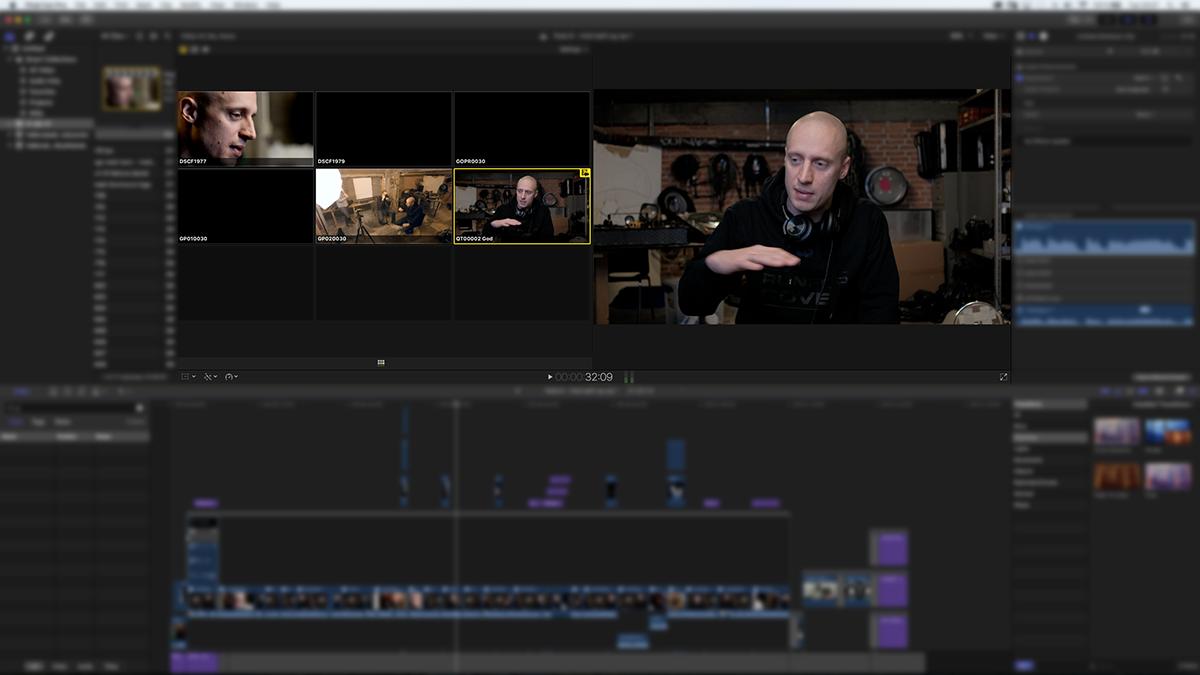 Multicam-funktionen i Final Cut Pro X. Man kan lave det første rå-klip ret hurtigt ved at køre optagelserne igennem og taste nummeret på den ønskede vinkel (i dette tilfælde 1,5 eller 6) – lidt ligesom når en producer laver live-TV. Klippene kan derefter finpudses.