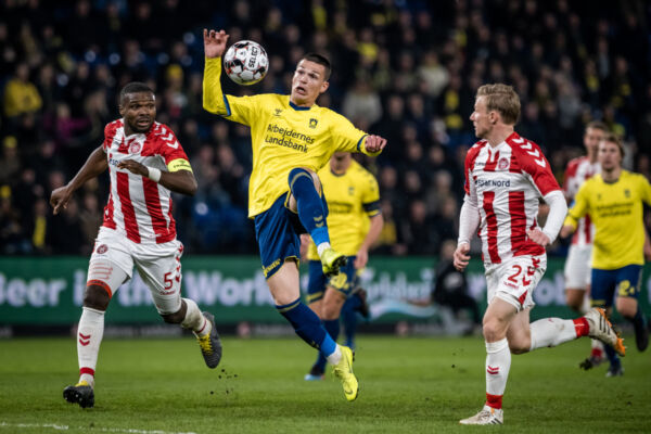 Brøndby IF forward Ante Erceg in the Danish cup semi final against AaB